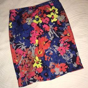 Loft skirt blue floral size 6